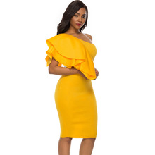 Sexy Women Yellow One Shoulder Bodycon Dress Irregular Ruffles Party Femme Slim Package Hip