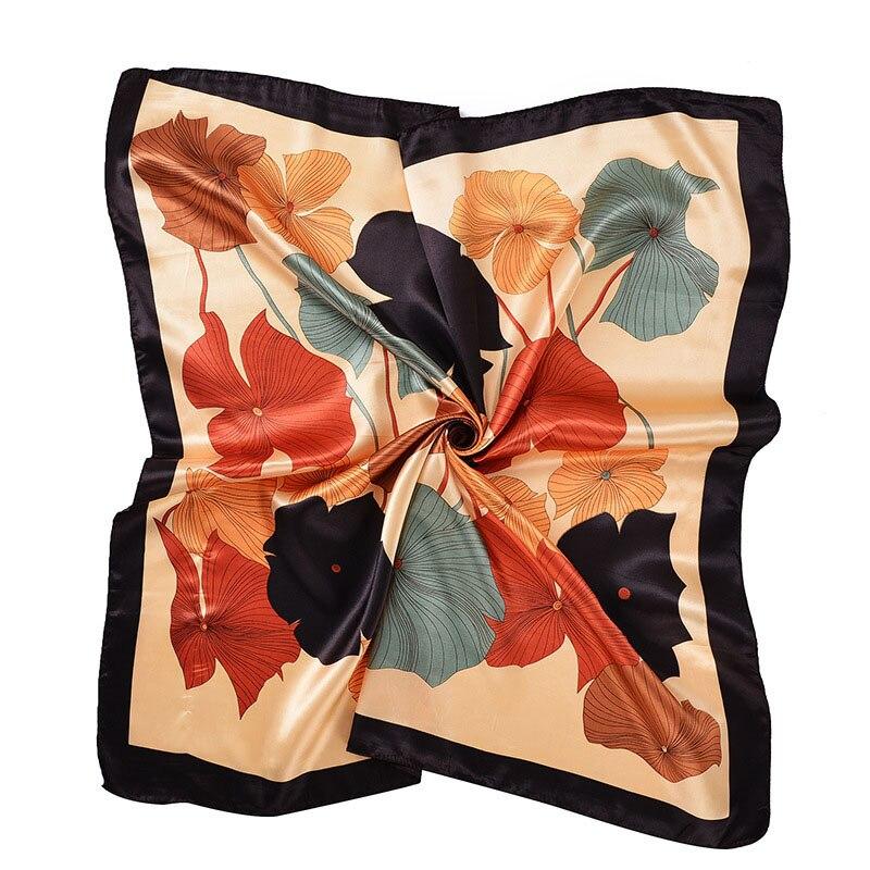 Women's Square Silk Scarves 90*90cm Fashion 2018 Ladies Satin Printed Scarf Shawl Autumn Winter Female Lotus Leaf Scarves Gift