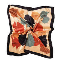Women's Square Silk Scarves 90*90cm Fashion 2018 Ladies Satin Printed Scarf Shawl Autumn Winter Female Lotus Leaf Scarves gift
