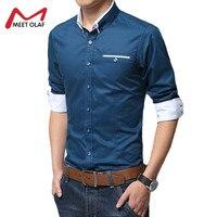 Бархатное утепленное Для мужчин рубашка Smart Повседневное отложным воротником рубашка с длинными рукавами 100% хлопок теплый Slim Fit Мужская оде...