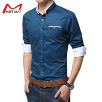Velvet Thickened Men Shirt Smart Casual Turn Down Collar Long Sleeve Shirt 100 Cotton Warm Slim