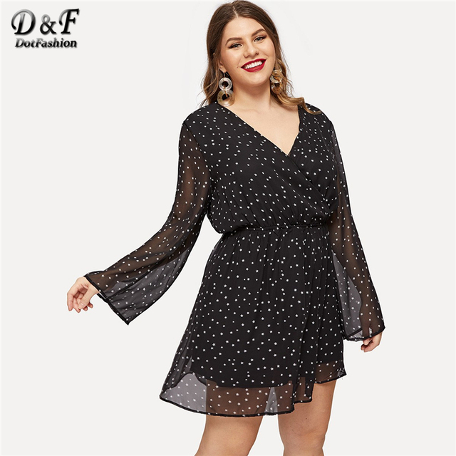 Dotfashion Plus Size Black Surplice Neck Dot Dress Women Autumn 2019 Clothes A Line Casual Spring Knee Length High Waist Dress 3