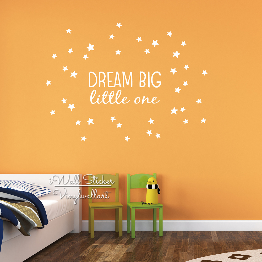 Dream Big Little One Quote Wall Sticker Kids Wall Quotes Decals ...