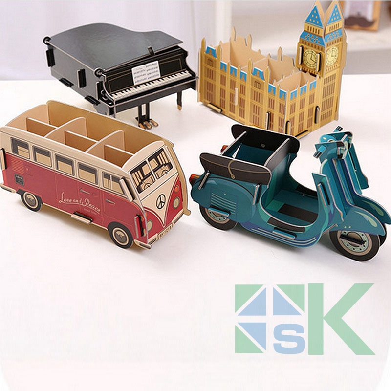 1PC 2017 New DIY Colorful Storage Box Lovely Piano/Bus/Big Ben/Motorcycle Shape Office Organizer Pencil Container