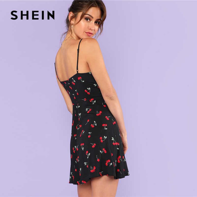 SHEIN модное женское платье на бретельках с принтом вишни, Повседневное платье на молнии без рукавов, 2018, свободное короткое платье