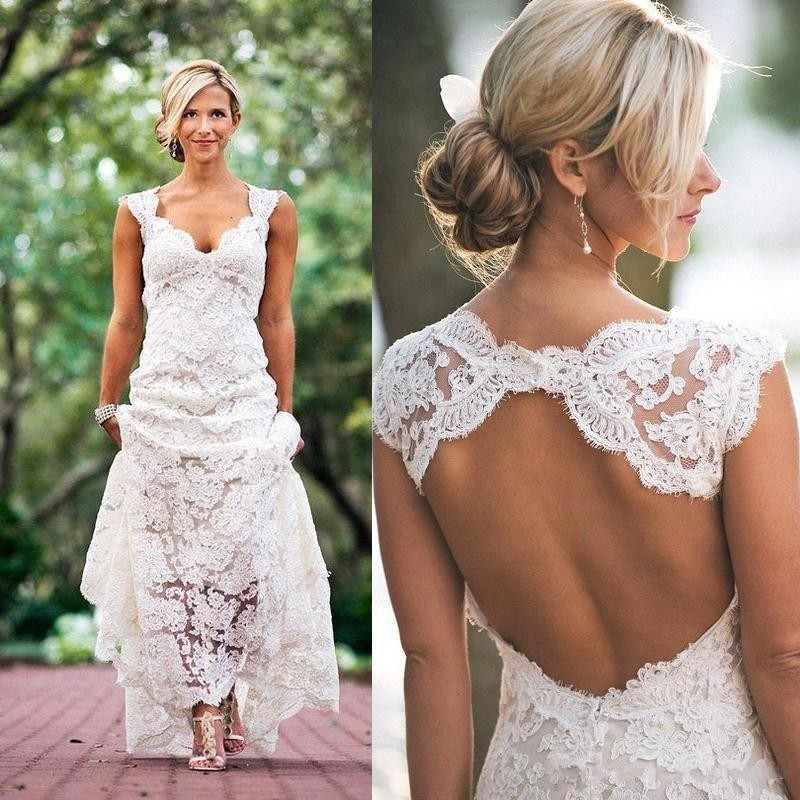 2016 cheap summer beach lace a line bohemian wedding dresses cap sleeves wedding gown open back