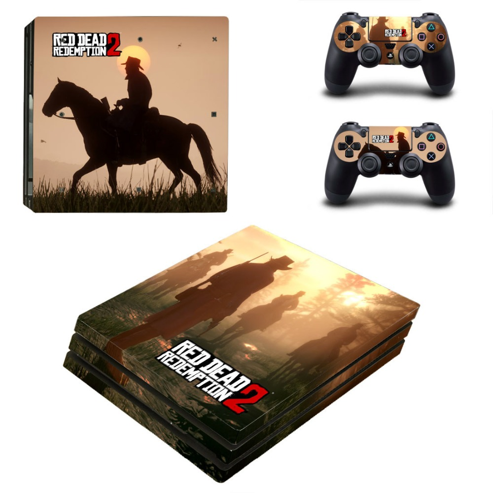 PS4 Pro Skin Sticker Cover For Sony Playstation 4 Console&Controllers - Red Dead Redemption 2