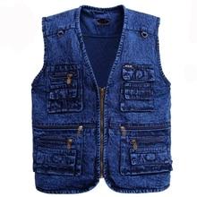 Men's vest Outerwear denim waistcoat no sleeve jacket Multi-pocket size XL to 5XL