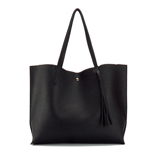 c34187cdc3e 2018 New Woman Shoulder Bag Girl PU Leather Handbag Ladies Totes Shoulder  Bags Fashion Female Tassel