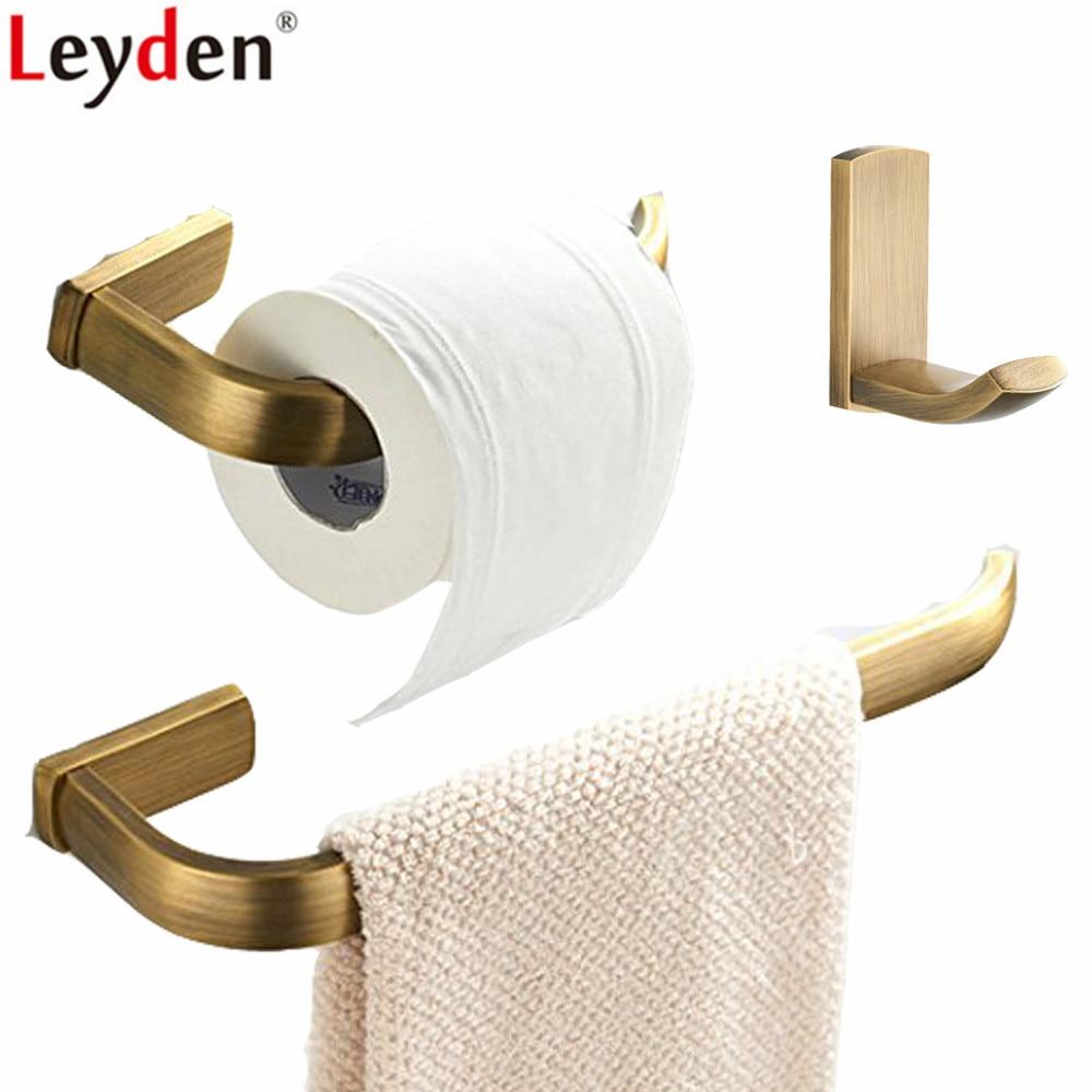 Leyden 3pcs Antique Brass Wall Mounted Towel Ring Holder Toilet Paper Holder Clothes Towel Hook Bathroom