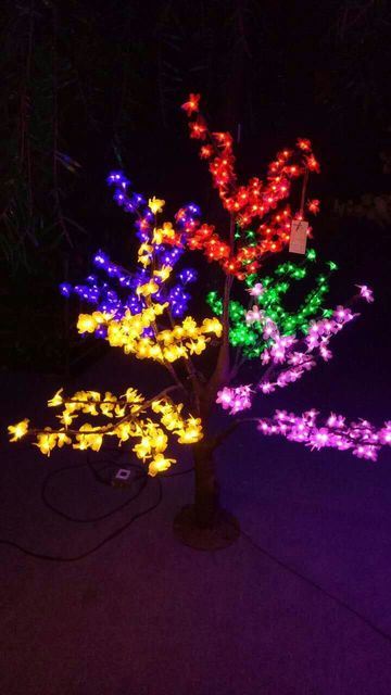 5 color 5ft 15m height christmas tree light simulation cherry blossom tree with natural trunk
