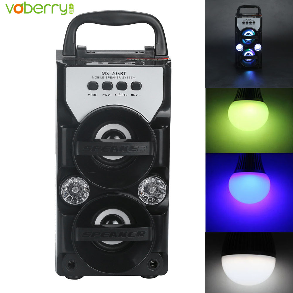 205BT Led Bluetooth Wireless Portable Speaker Super Bass Double Horn Multimedia Loudspeaker MP3 Player with USB/TF/AUX/FM Radio