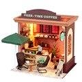 Cobrir os Móveis de Artesanato DIY De Madeira Casa De Bonecas Em Miniatura Com LED Tempo Livre Café Miniatura Presente Modelo Para Crianças