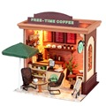 DIY Handcraft Wooden Dollhouse Miniature With LED Furniture Cover Free Time Coffee Miniatura Model Gift For Children