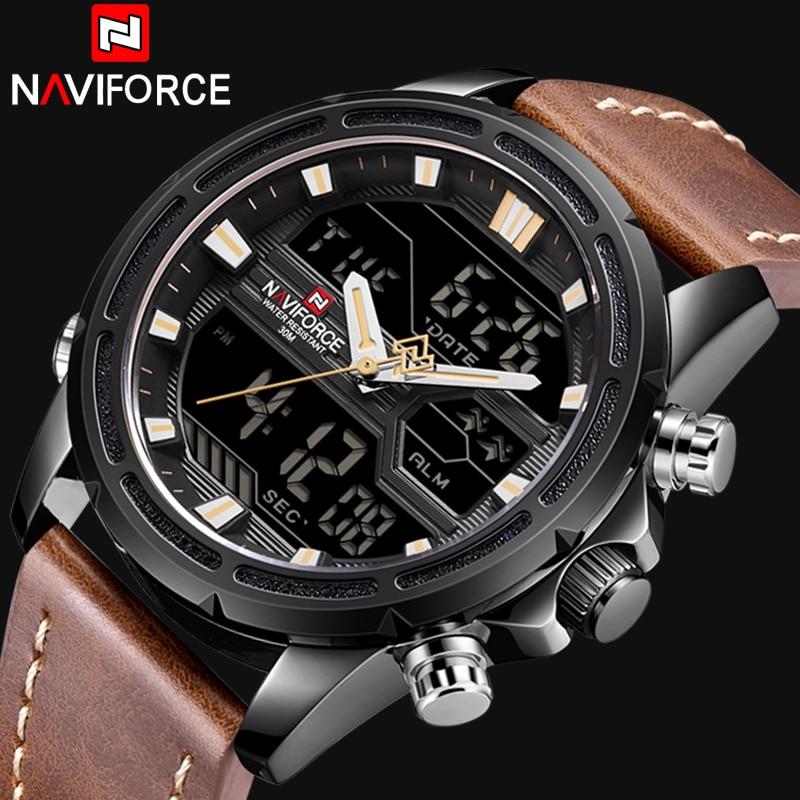NAVIFORCE Men Watches To Luxury Brand Men Leather Sports Watches Men's Quartz LED Digital Clock Waterproof Military Wrist Watch