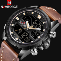 NAVIFORCE Men Watches To Luxury Brand Men Leather Sports Watches Men's Quartz LED Digital Clock Waterproof Military Wrist Watch