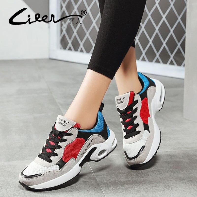 Respirant Air Mesh Femmes Chaussures de Sport 2018 Printemps Femmes Sneakers Chaussures De Mode Lacent Plats En Plein Air Chaussures Dames tenis feminino