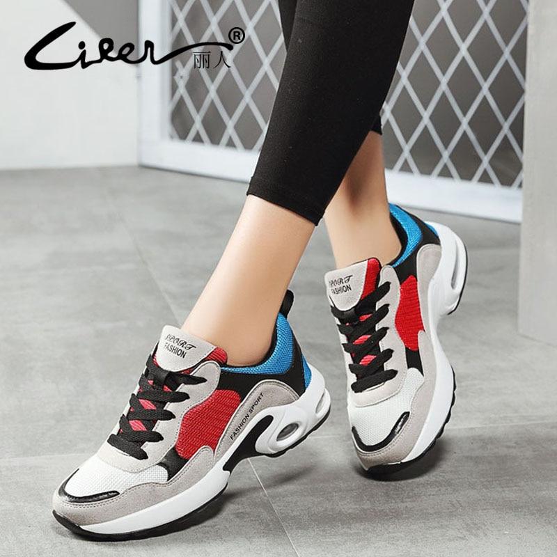 Transpirable de malla de aire zapatos casuales de las mujeres de la primavera de 2018 de las mujeres zapatillas de deporte zapatos de moda Zapatos de encaje plano zapatos al aire libre zapatos de señoras tenis Femenino