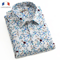 LANGMENG 2016 Men Short Sleeve Floral Print Dress Shirts Casual Slim Fit  Male Summer Style Camisa Masculina Chemise Homme