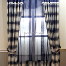 Free Processing As the Picture Size:1.5*2.7m Curtains Draperies,Blue Linen Grid Custom Made Modern Curtains Sheer Curtains.