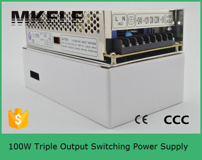 ФОТО high quality triple dc 5V12V-5V T-100B power supply 100w three outputs switching power supply with CE certificate