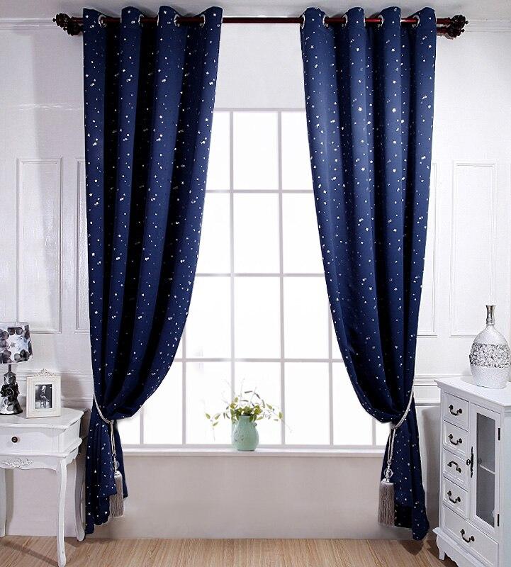 blackout curtains kid bedroom cartoon star design navy blue sky window treatments girl boy room home decoration short curtains