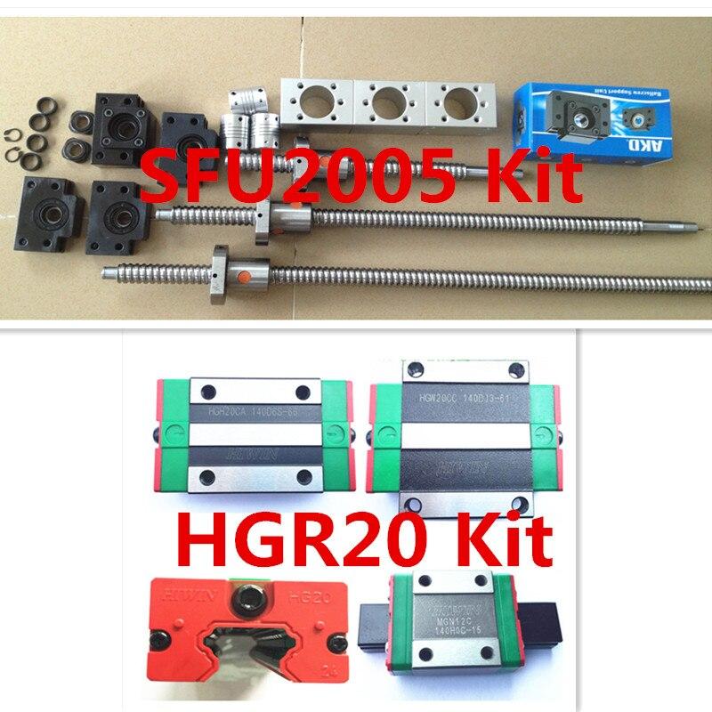 цена на 4xHGR20 100% HIWIN Linear Guide 1550MM+3 x SFU2005 Ballscrew 1500MM +3pcsBK BF15+3pc housing+3pc 6.35*12MM+ 4X 1000MM towline