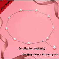 2017 Fashion Jewelry Natural Pearl Box Chain Necklace Rice Pearl Jewelry Necklace For S925 Sterling Silver