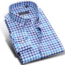 2017 Mens Long Sleeve Classic Contrast Color Plaid Dress Shirts 100% Cotton Slim fit Button down Casual Shirts camisa masculina
