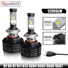 BraveWay светодио дный лампочки для автомобилей HB3 9005 HB4 9006 светодио дный лампы H1 H7 H13 9004 9007 светодио дный шарика фары Противотуманные фары противотуманные Lgiht лед лампы