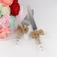 Newest Jute Barlup Personalized Wedding Cake Server Gift Set The Jute Cake Server Knife Set