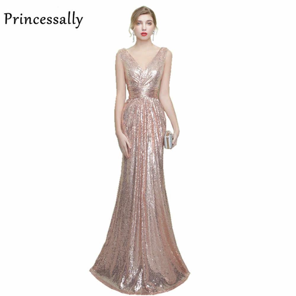 b7145b234bbbc61 Vestidos блестками вечернее платье V шеи невесты замуж Банкетный элегантное  розовое золото рукавов длиной до пола