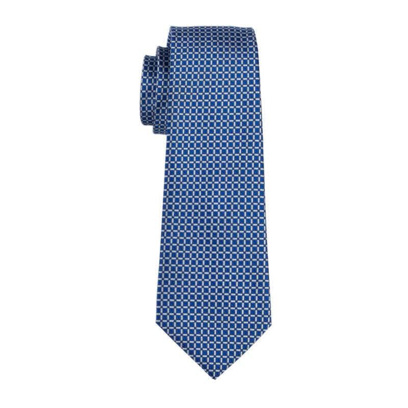 FA-1518 Yeni Gelmesi Moda Kravatlar Erkekler Için Mavi Kareli Jakarlı Dokuma Kravat Hanky Kol Düğmeleri Düğün Parti Için Ücretsiz Kargo