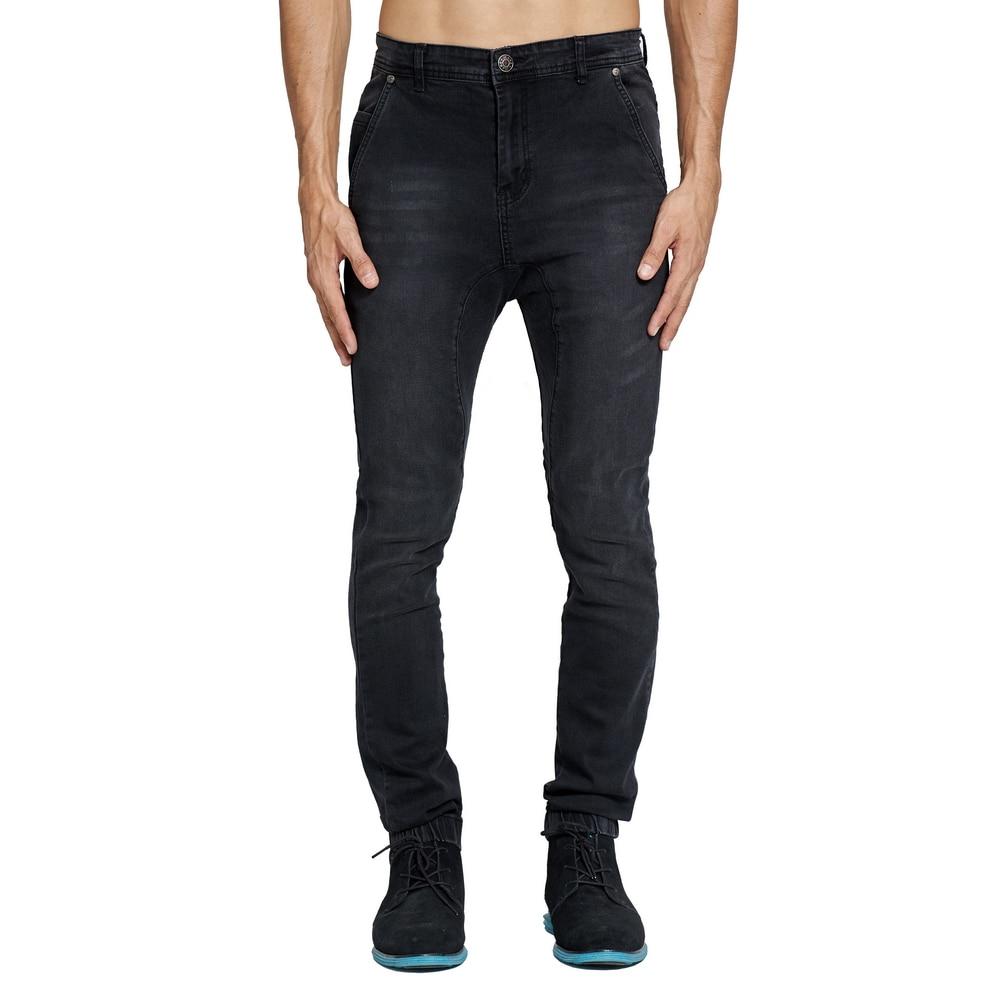 2018 Mens Drop Crotch Jogger Jeans Fashion Slim Stretch Denim High Street Harem Jeans