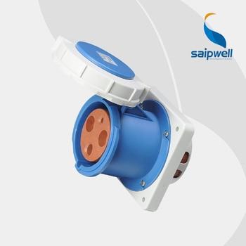 IP67 3P 125A  International Standard Concealed Industrial Socket  /  Waterproof  Panel Mounted Straight  Socket ( SP-3380)