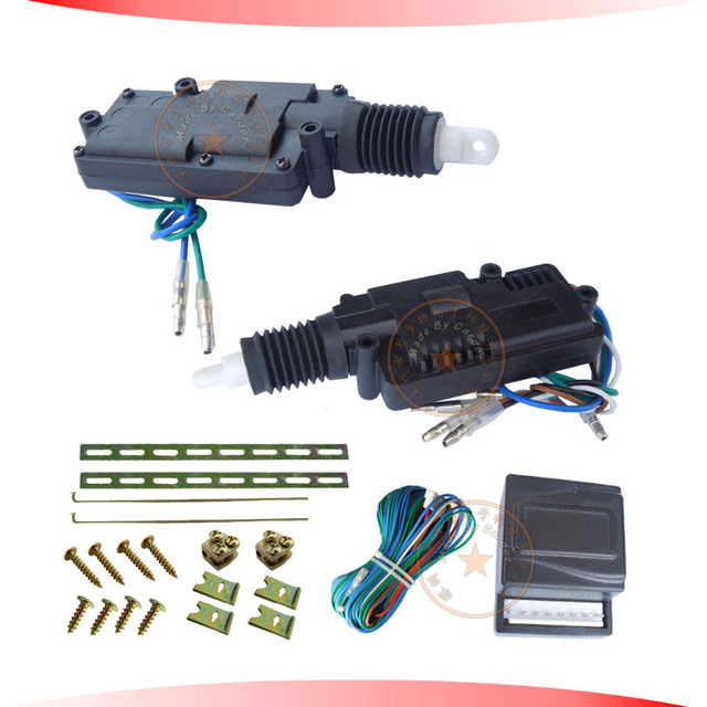 hot selling central lock system black motor header 2 five wire actuators,working with car alarm,free shipping CE passed!