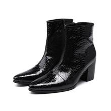 Luxury Brand Leather Italian Western High Heels Pointed Toe solid Cowboy Boots Military Black Punk Shoes Man Size13