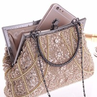 2018 Luxury Brand Handbags Women Designer Leather Vintage Bead Sequined Evening   Bag   Purse For Wedding Party Banquet