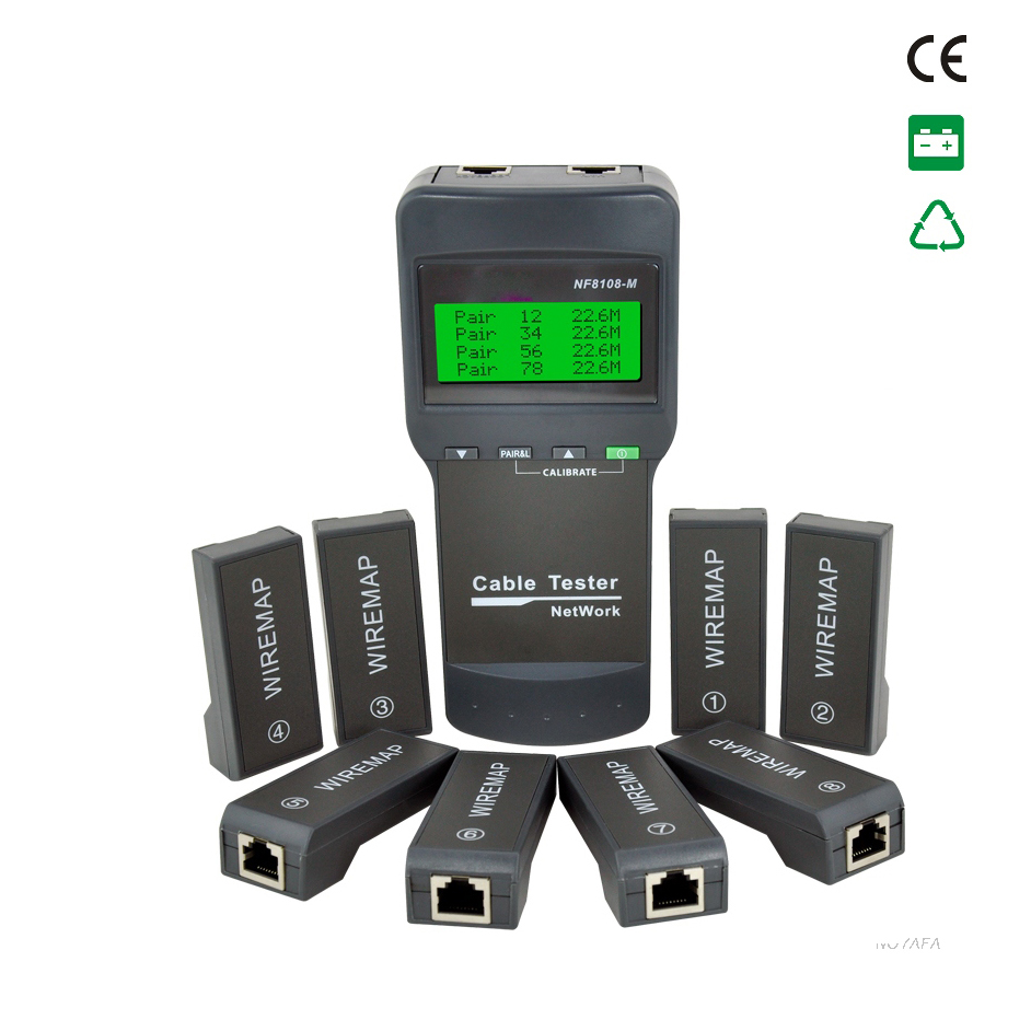 NF8108-M Network Cable Tester Meter Length8 remote units Cat5E/ 6E UTP STP CAT5 RJ45 Cable length tester стоимость
