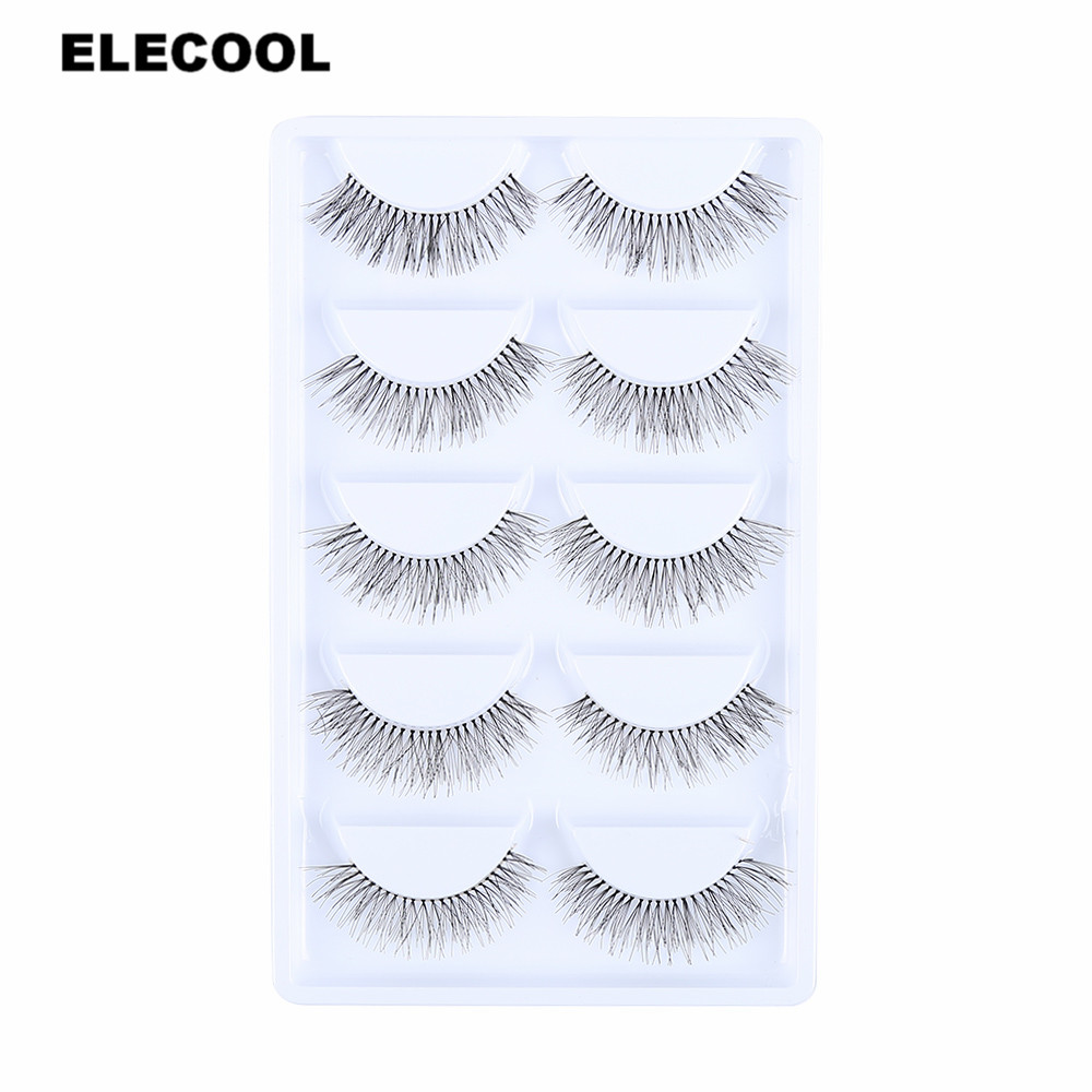 ELECOOL 5 Pairs Handmade Eye Lashes Makeup Tips Eyelashes Cross Makeup Tool Long False Eye lashes Fiber Eyelash Extension Tools ...