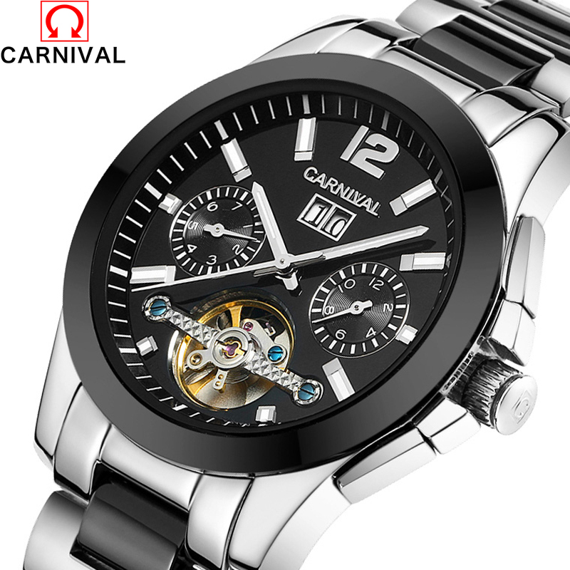 CARNIVAL Skeleton mechanical watch luxury men black waterproof fashion casual military brand sports watches relogios wristwatch relogios masculino sollen calendar mechanical watch luxury men black waterproof fashion casual military brand sports watches