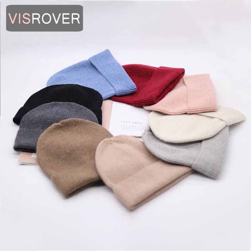VISROVER  9 colorways new Autumn winter solid color real cashmere beanies for woman cashmere unisex Warm knitted hat wholesales