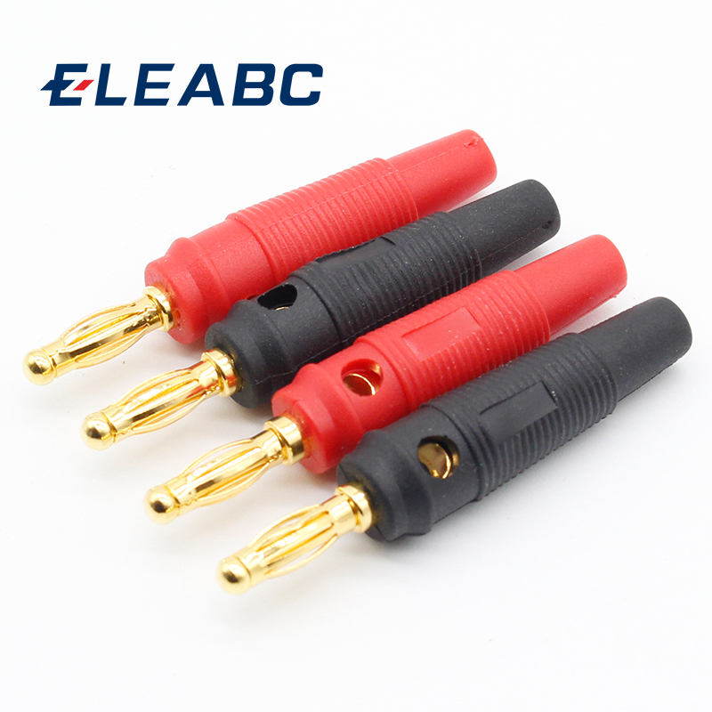 4pcs New 4mm Plugs Pure Copper Gold Plated Musical Speaker Cable Wire Pin Banana Plug Connectors