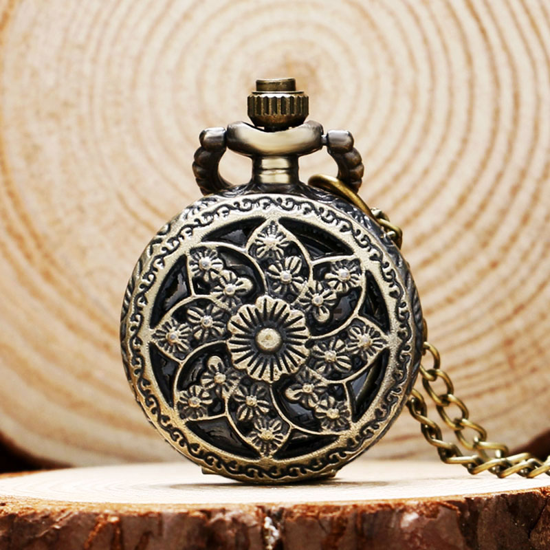 Fashion Small Size Hollow Flower Case Design Quartz Pocket Watches Bronze Sun Gear Fob Watch Pendant Necklace Chain for Women otoky montre pocket watch women vintage retro quartz watch men fashion chain necklace pendant fob watches reloj 20 gift 1pc