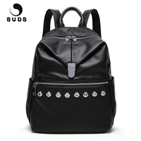 SUDS Brand Fashion PU Leather Backpack Women High Quality School Bags Female Preppy Style Casual Laptop Backpack Mochilas Mujer
