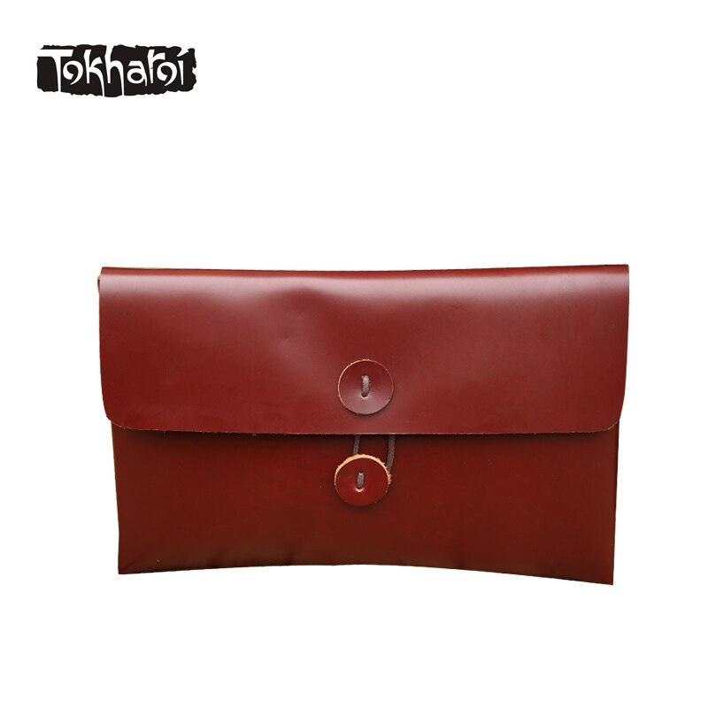 Tokharoi Brand Genuine Leather Women Bag Day Clutches Luxury Solid Flap Pocket Shoulder Bag Vintage String Lock Original Design