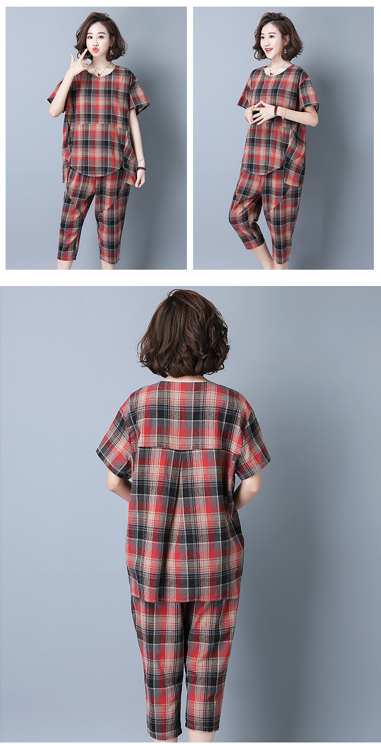 2019 Summer Plaid Cotton Linen Two Piece Sets Outfits Women Plus Size Short Sleeve Tops And Cropped Pants Casual Suits Red Green 45