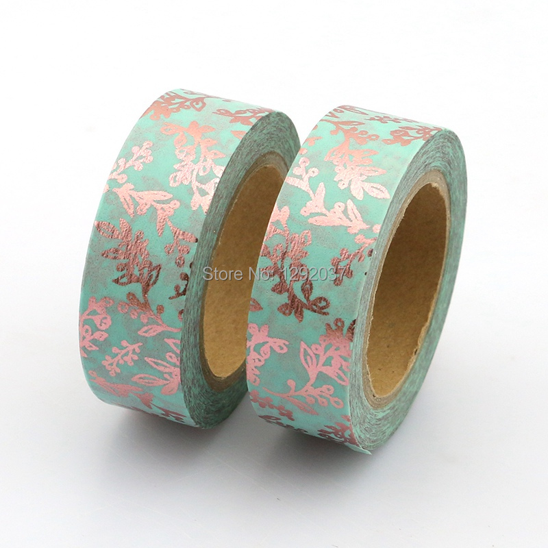 Decorative Delicate Branches Foil Washi Tape Blue Copper Floral 15mm X 10 Meters Adhesive Masking Tapes Paper For Scrapbooking