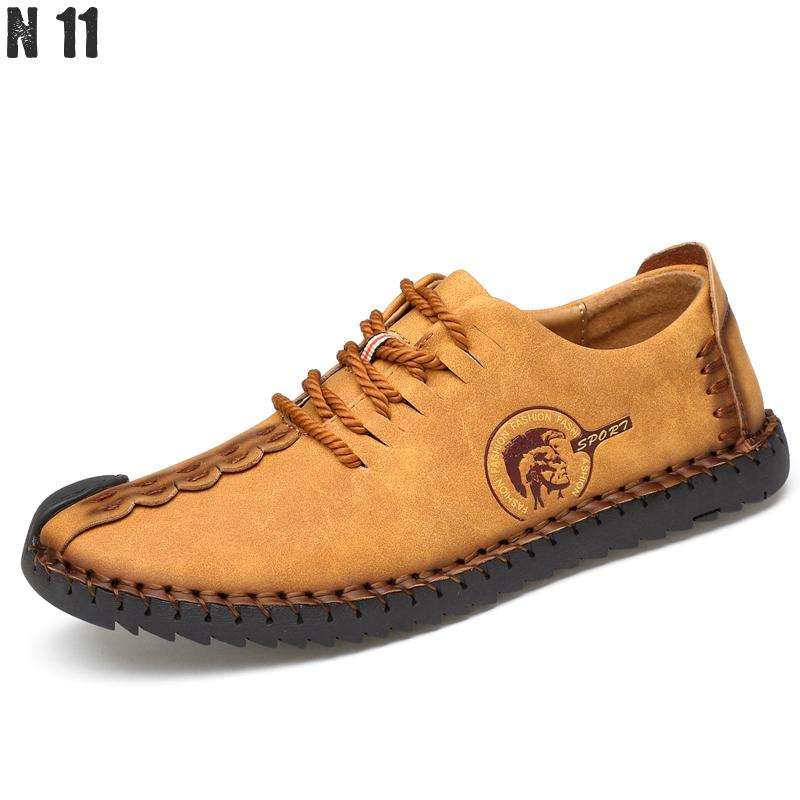 N11 Brand 2017 Fashion Comfortable Men Shoes Lace up Solid Genuine Leather Shoes Men Causal Huarache