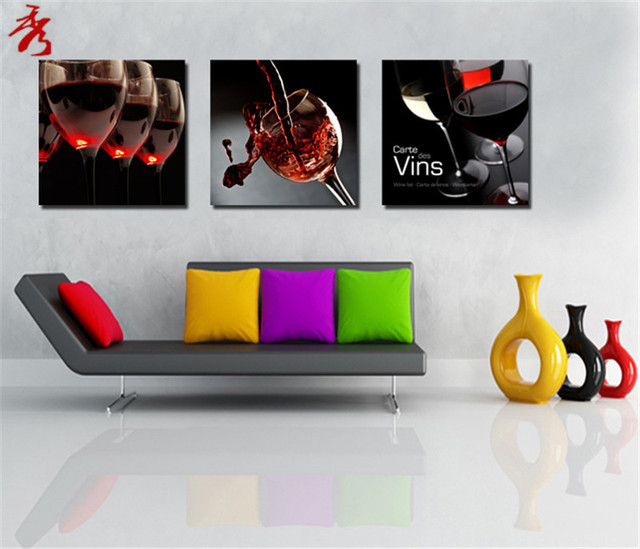3pcs Red Wine Glass Canvas Paintings Modern Kitchen List Wall Modular Picture For Living Room Decor Unframed Bar Art Photo